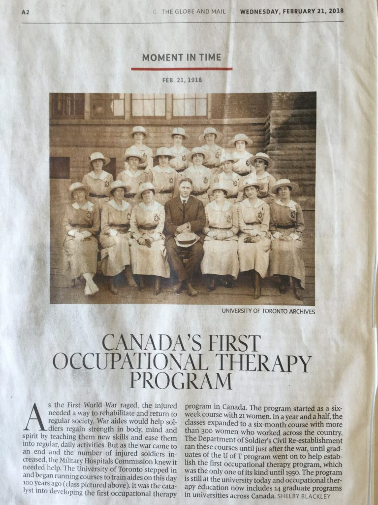 "Moment in Time for February 21, 2018. ""Canada's first occupational therapy program"". Globe and Mail, page A2"