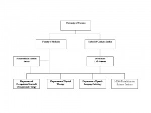 This is a visual representation of the Department's relationship with other Rehabilitation Departments, the School of Graduate Studies, and the Faculty of Medicine. It is described in detail on this web page.