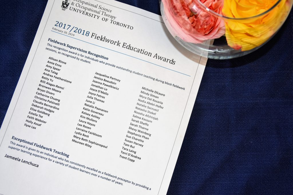 List of Recipients of the 2017/2018 Fieldwork Education Awards