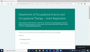 Photo of OS&OT Grant Registration Form page